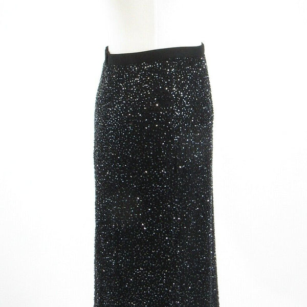 Black 100% silk CACHE beaded maxi skirt S-Newish