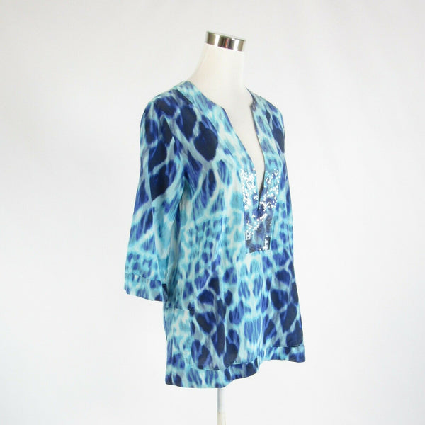 Turquoise blue ivory cheetah cotton blend HERMANNY BY VIX 3/4 sleeve blouse S-Newish