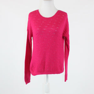 Bright pink GAP open knit front scoop neck long sleeve sweater S