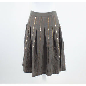 Taupe gray 100% cotton LILI A-Line box pleated bronze sequin striped skirt M-Newish