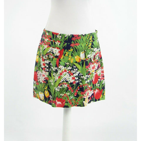 Navy blue green pink floral print cotton blend TORY BURCH mini skirt 10-Newish