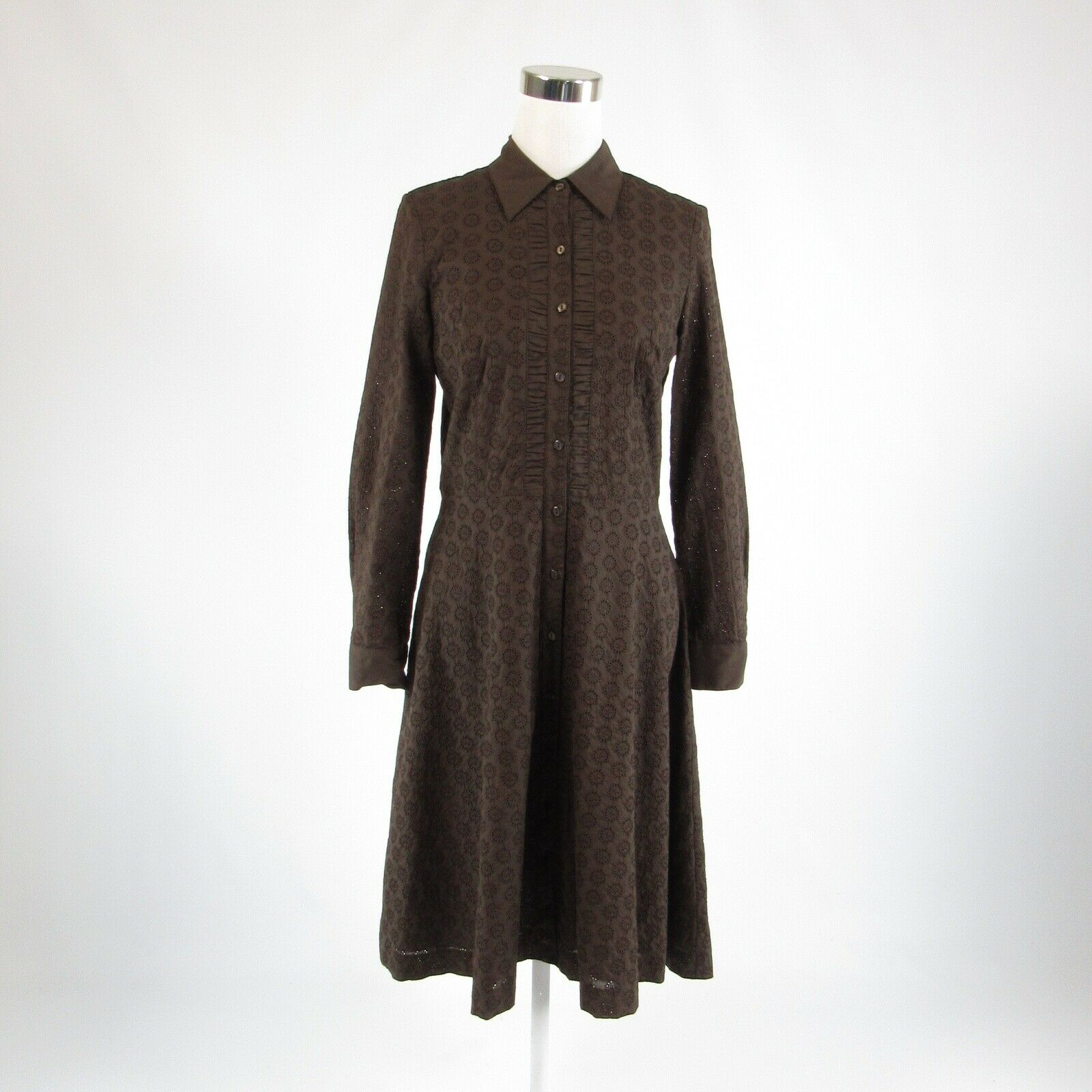 Brown eyelet NEIMAN MARCUS EXCLUSIVE embroidered trim long sleeve A-line dress 4