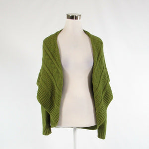 Olive green cotton blend LANDS' END long sleeve shrug sweater multi-knit S