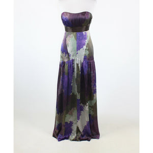Purple green geometric silk satin SAJA strapless tiered ball gown 2