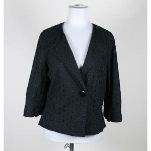 KENNETH COLE REACTION black eyelet 100% cotton 3/4 sleeve 1 button jacket 10-Newish