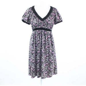 Black purple floral print BCBG MAX AZRIA short sleeve empire waist dress S-Newish