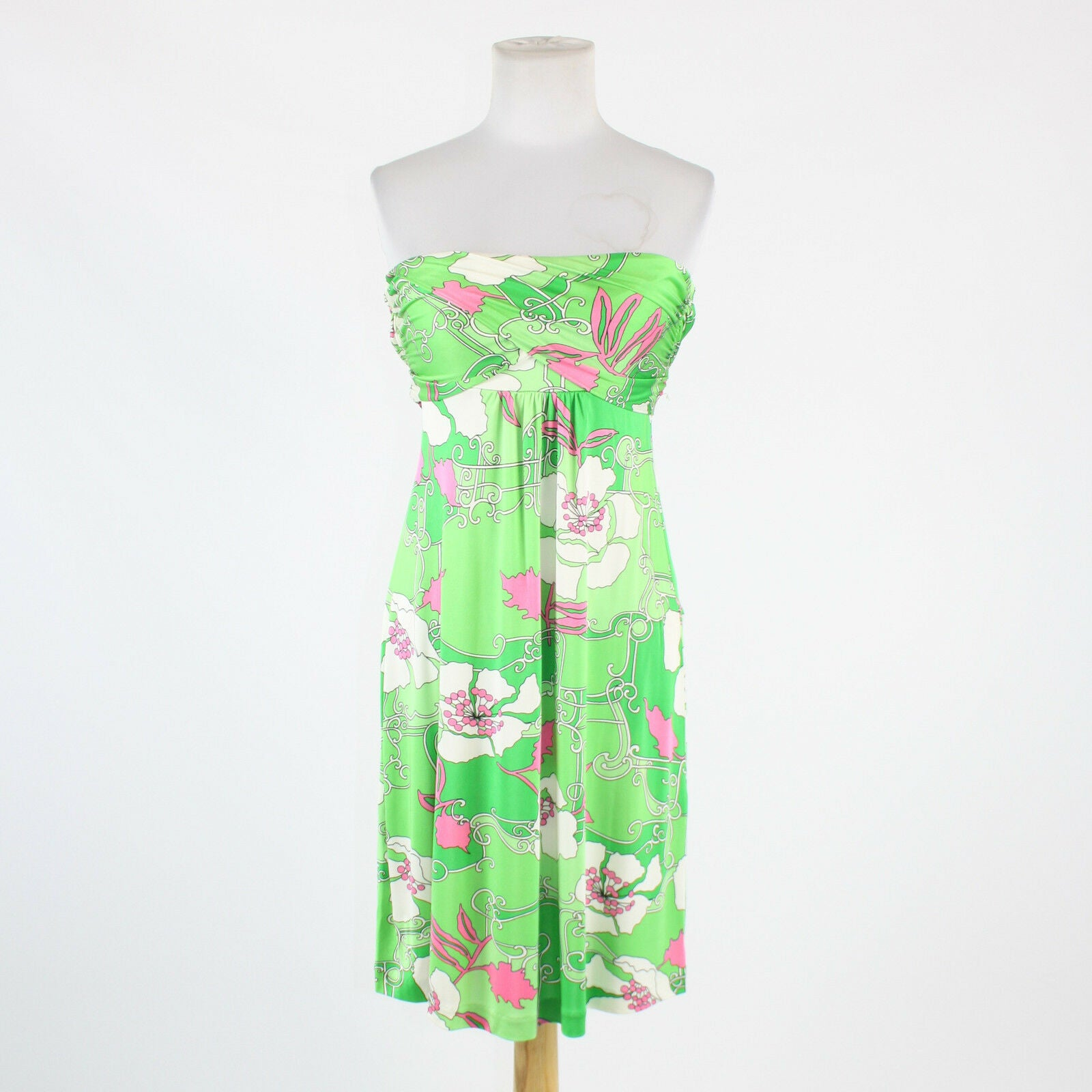 Green pink white floral 100% silk TIBI strapless knee-length tie waist dress XS-Newish