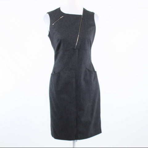 Charcoal gray wool blend HEXELINE sleeveless sheath dress 38 40-Newish