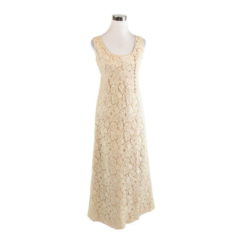 Light beige floral lace sleeveless vintage maxi dress S