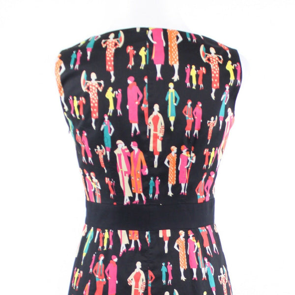 Black multicolor people print 100% cotton KAY UNGER sleeveless sheath dress 6
