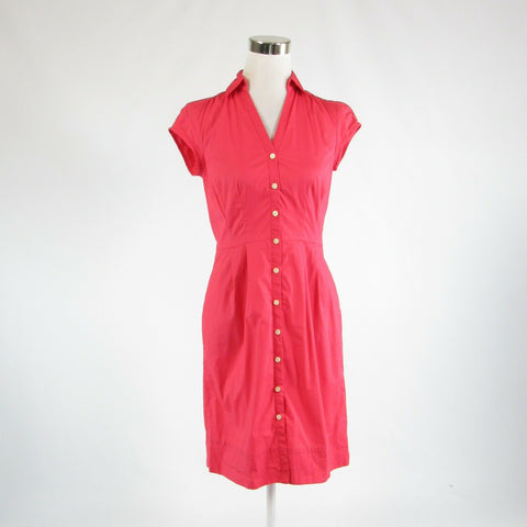 Light red cotton blend BANANA REPUBLIC stretch cap sleeve A-line dress 2