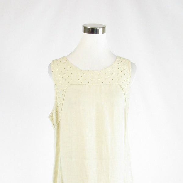 Ivory linen blend PIAZZA DEL TEMPIO sleeveless shift dress L-Newish