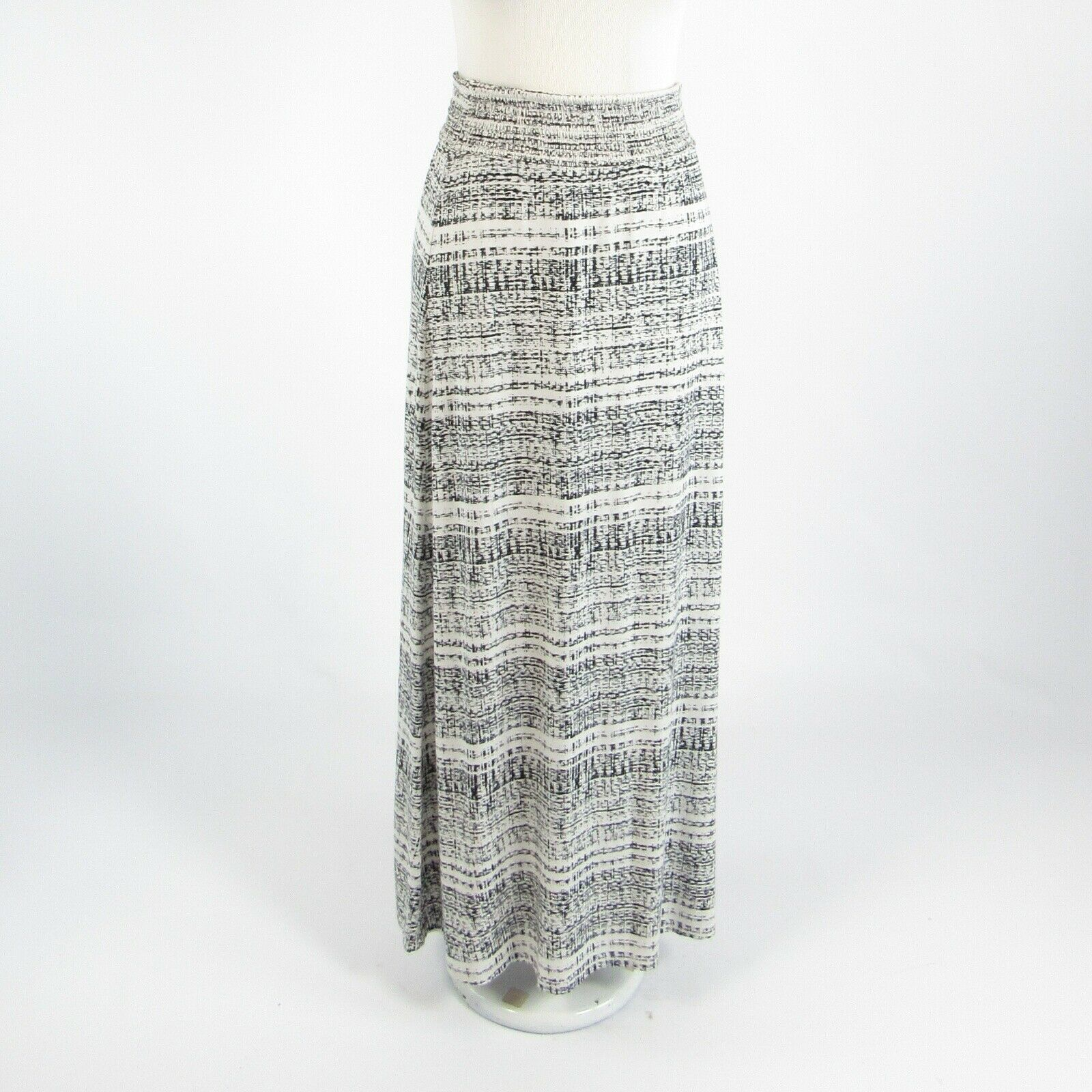 White black abstract CYNTHIA ROWLEY stretch maxi skirt S-Newish