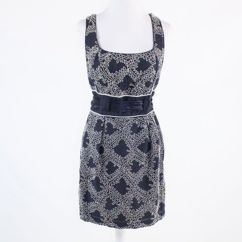 Navy blue ivory geometric linen blend FRENCH CONNECTION sleeveless sheath dress