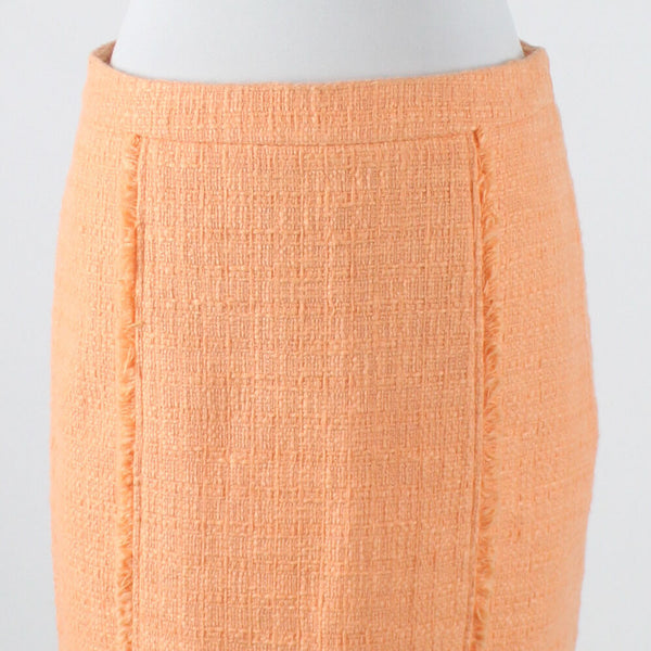 Orange textured 100% cotton KENAR fringed trim above knee skirt 2