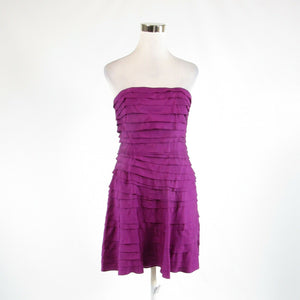 Dark pink purple 100% silk CYNTHIA STEFFE tiered dress 4
