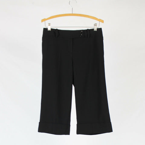 Black ANN TAYLOR flat front extended tab cropped cuffed stretch pants 4P-Newish
