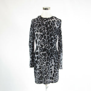 Light gray black cheetah PER SE stretch long sleeve sheath dress 4