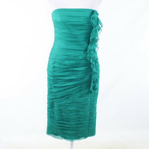 Mint green 100% silk TADASHI strapless wiggle dress 6