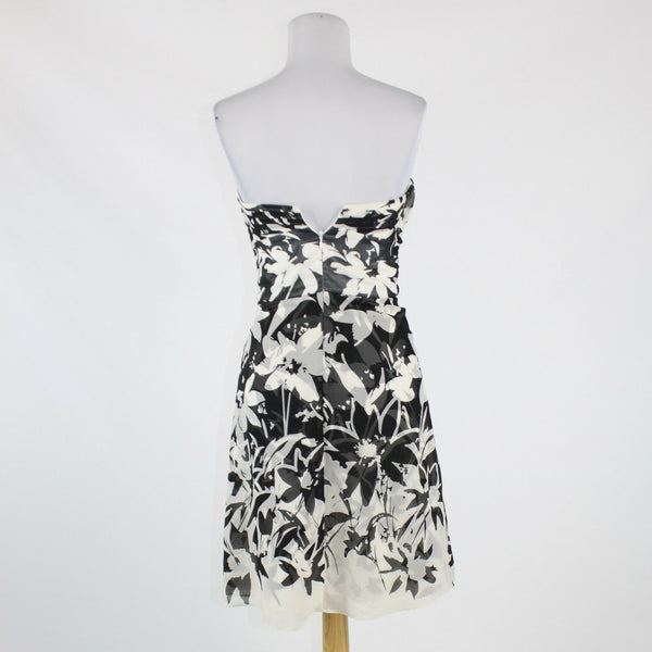 Black white floral silk WHITE HOUSE BLACK MARKET strapless knee-length dress 2-Newish