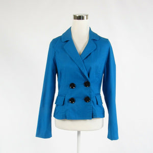Blue cotton blend EXPRESS DESIGN STUDIO long sleeve blazer jacket 8-Newish