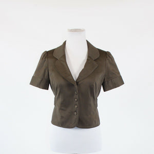 Cool brown cotton blend THE LIMITED cropped button front jacket S