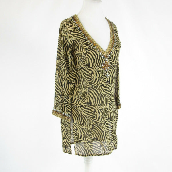 Black beige tiger 100% cotton BARBARA GERWIT 3/4 sleeve tunic blouse S-Newish