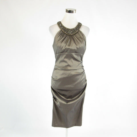 Taupe CACHE beaded trim sequin shimmery sleeveless wiggle dress 10-Newish