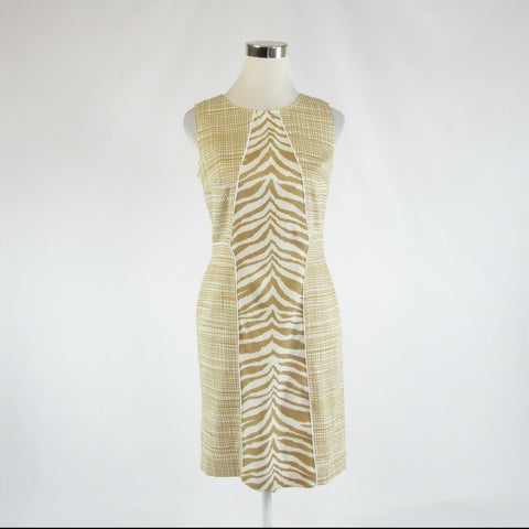 Khaki white zebra cotton blend NINE WEST sleeveless sheath dress 4-Newish