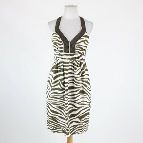 White dark green gray zebra linen BANANA REPUBLIC thin strap dress 8P-Newish