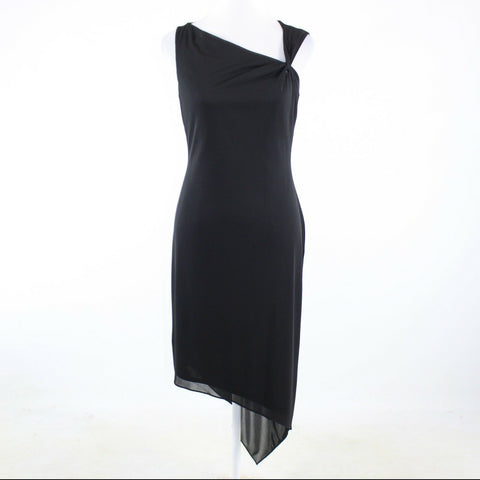 Black DAVID MEISTER sleeveless asymmetrical hem dress 6-Newish