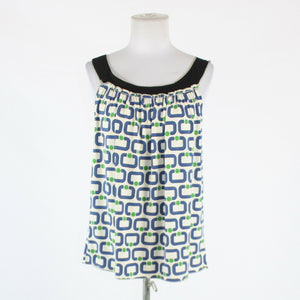 White blue & green geometric SOPHIE MAX thin strap stretch black trim blouse S-Newish