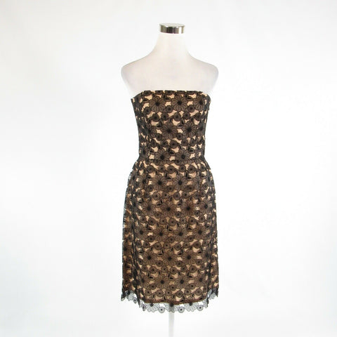 Beige black floral print lace SHANI sheath dress S-Newish