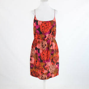 Fuchsia pink orange ikat 100% silk J. CREW spaghetti strap elastic waist dress 1