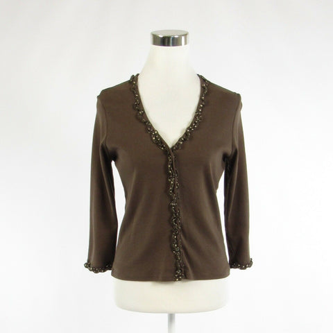 Brown cotton BODEN stretch 3/4 sleeve blouse 14