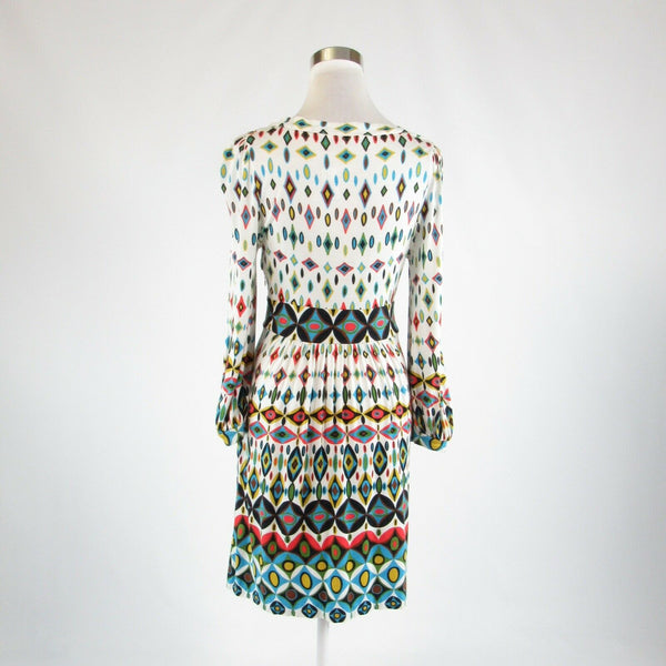 White blue geometric TIBI stretch long sleeve empire waist dress S