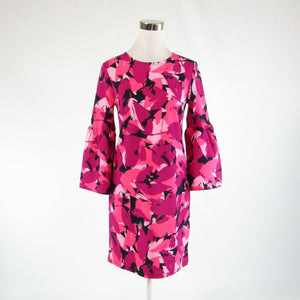 Dark pink abstract BANANA REPUBLIC stretch bell sleeve shift dress XS
