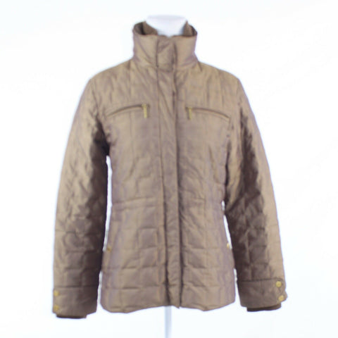 Khaki gold COMPANY ELLEN TRACY long sleeve quilted puffer coat S