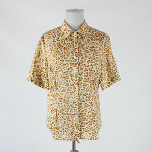 Cream brown tan leopard cotton JONES NEW YORK SPORT button front blouse L