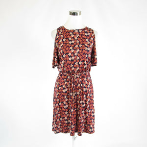 Light red pink floral print ANN TAYLOR LOFT stretch sleeveless tunic dress XS-Newish
