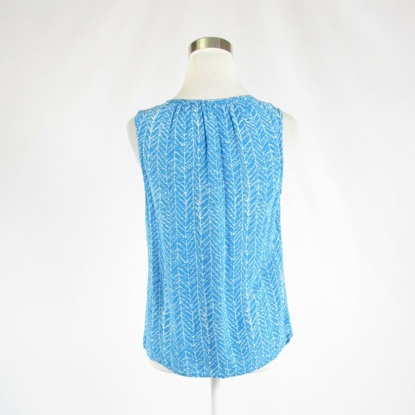 Blue white geometric ANNE CARSON sleeveless blouse S-Newish