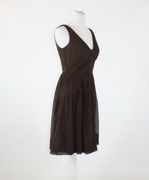 Brown knotted chest 100% silk J. CREW sleeveless V-neck A-line dress 8P