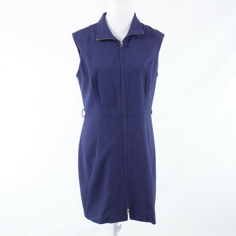 Navy blue MARC NEW YORK sleeveless full zip sheath dress 10