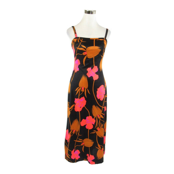 Black orange floral spaghetti strap stretch vintage maxi dress S-Newish