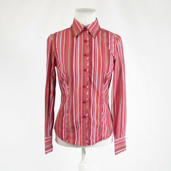 Red green uneven striped 100% cotton TOMMY HILFIGER button down blouse S-Newish