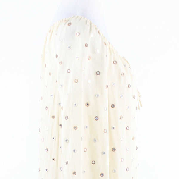 Ivory khaki embroidered eyelet HAUTE HIPPIE 3/4 sleeve shift dress S-Newish