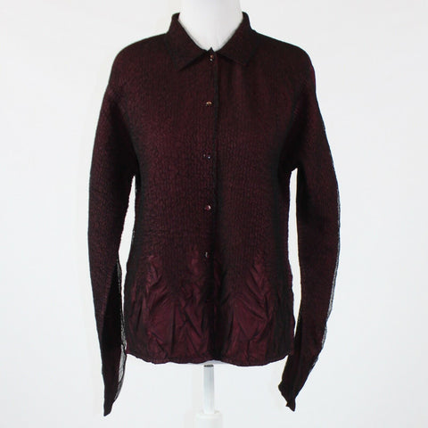 Maroon red black COLDWATER CREEK long sleeve sheer overlay button down blouse PM