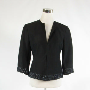 Black linen blend DONCASTER beaded trim open front 3/4 sleeve blazer jacket 2-Newish