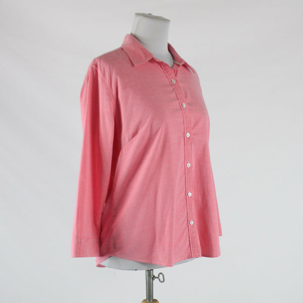 Pink cotton blend IZOD 3/4 sleeve button down shirt blouse M