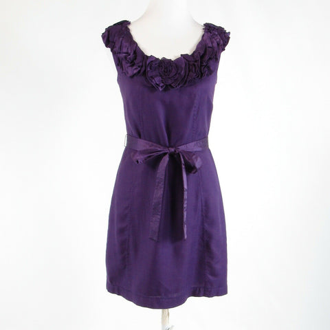Purple herringbone BARASCHI sleeveless sheath dress 0